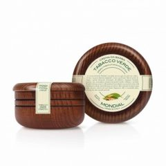 MONDIAL Green Tobacco Shaving Cream in Luxury Wooden Bowl