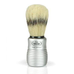 Omega Boar bristle shave brush with aluminum handle